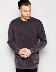 Cheap Monday Crew Sweater Combine Knit Cut And Sew Sleeve In Black Moon Black