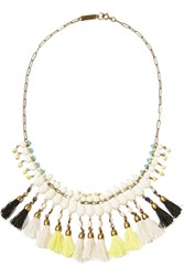 Isabel Marant Brass Bead And Tassel Necklace White