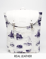 Jack Wills Brentwood Canvas Leather Backpack Toileprint