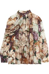 Christopher Kane Floral Print Silk Georgette Blouse Neutral