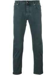 Jacob Cohen Jacquard Slim Fit Trousers Green