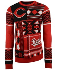 Forever Collectibles Men's Cincinnati Reds Patches Christmas Sweater Red Black