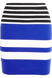 Alexander Wang Striped Stretch Cotton Jersey Mini Skirt Blue