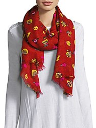 Betsey Johnson Graphic Print Fringe Trim Scarf Red