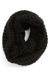 La Fiorentina Infinity Scarf With Genuine Rabbit Fur Fringe Black