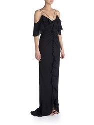 Emilio Pucci Ruffled Cold Shoulder Gown Black
