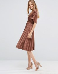 Asos Pleated Satin Kaftan Midi Dress Brown