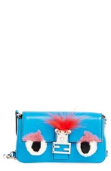 Fendi 'Monster' Genuine Rabbit Fur And Genuine Fox Fur Micro Baguette Blue Blue Royal Tangerine