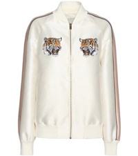 Stella Mccartney Lorinda Embroidered Cotton And Silk Blend Bomber Jacket White