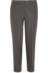 Miu Miu Cropped Stretch Wool Felt Straight Leg Pants Gray