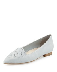 Cole Haan Allison Perforated Pointed Toe Flat Silver Mist
