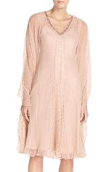 Women's Komarov Embellished Chiffon And Lace A Line Dress With Wrap