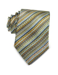 Missoni Diagonal Stripe And Signature Woven Silk Narrow Tie Light Blue Gold