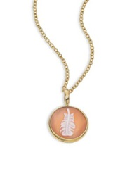 Ippolita Shell Cameo Clear Quartz And 18K Yellow Gold Feather Charm Gold Peach