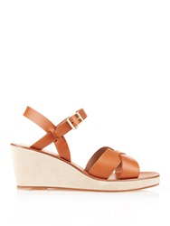A.P.C. Leather And Suede Wedge Sandals