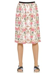 Mother Of Pearl Amelia Flamingo Silk Georgette Skirt