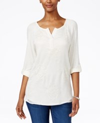 Styleandco. Style Co. Embroidered Split Neck 3 4 Sleeve Top Only At Macy's Vintage Cream