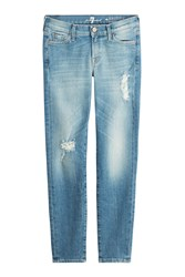 7 For All Mankind Seven For All Mankind Distressed Skinny Jeans Blue