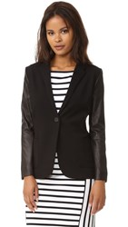 Getting Back To Square One Blazer With Leather Black