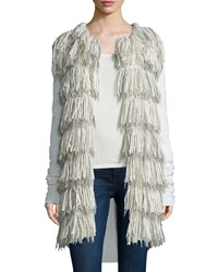 Tess Giberson For Neiman Marcus Cashmere Collection Long Fringe Cardigan W Cashmere Women's