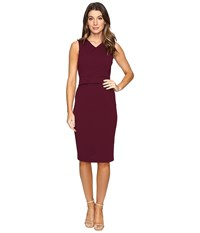 Catherine Malandrino Sleeveless V Neck Sheath W Demi Peplum Zinfandel Women's Dress Brown