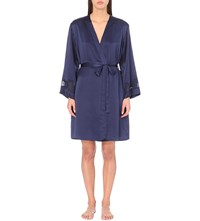 Nk Imode Morgan Iconic Silk Satin Robe Even Blue Even Blue