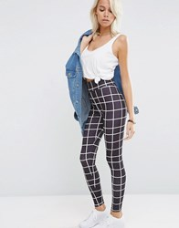 Asos Mono Clean Grid Check Leggings Mono Multi