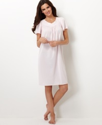 Miss Elaine Short Sleeve Embroidered Nightgown Pink