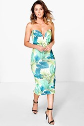 Boohoo Tropical Print Bandeau Bodycon Dress Multi