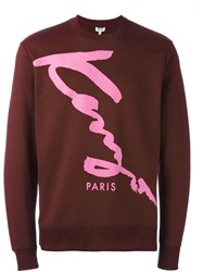 Kenzo Signature Print Sweatshirt Pink And Purple