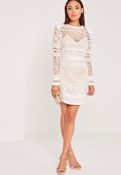 Missguided Long Sleeve Lace Bodycon Dress White Beige