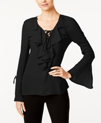 Eci Ruffled Lace Up Blouse Black