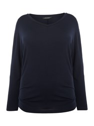 Marina Rinaldi V Neck Long Sleeve Top Navy