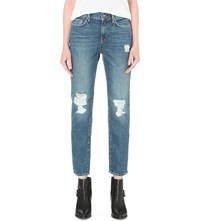 Allsaints Amy Distressed Girlfriend Mid Rise Jeans Mid Blue