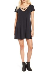 Socialite Women's Cross Front T Shirt Dress Solid Black
