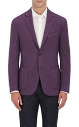 Barneys New York Men's Wool Silk Pique Two Button Sportcoat Purple