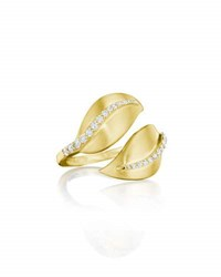 Penny Preville 18K Gold And Diamond Leaf Bypass Ring