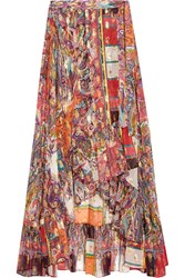Etro Metallic Printed Fil Coupe Silk Blend Georgette Wrap Skirt Pink