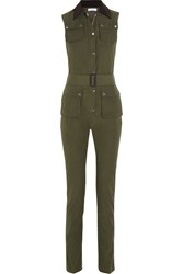 Altuzarra Foxhound Corduroy Trimmed Faille Jumpsuit Green
