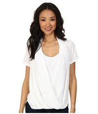 Nydj Fit Solution Two Fer Top Optic White Women's Short Sleeve Pullover