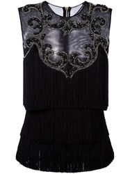 Balmain Embellished Sheer Panel Blouse Black