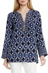 Women's Vince Camuto 'Tribal Batik' Split Neck Blouse