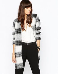 Just Female Wood Kimono Coat In Black White Check Blackandwhite