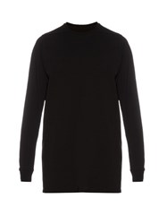 Rick Owens Long Sleeved Cotton Sweatshirt Black