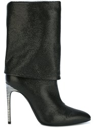 Pollini High Heel Fold Over Boots Black