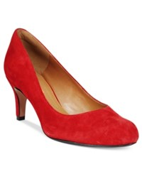 Clarks Collection Women's Arista Abe Pumps Women's Shoes Red Suede