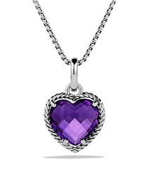 David Yurman Cable Heart Pendant With Amethyst Silver Purple