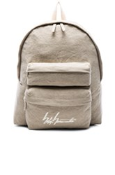 Yohji Yamamoto Washed Linen Backpack In Neutrals