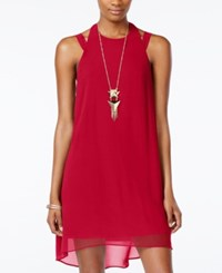 City Studios Juniors' High Low Halter Shift Dress With Necklace Cherry