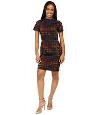 Tahari By Arthur S. Levine Petite Houndstooth Printed Ponte Mock Neck Sheath Black Dijon Iris Women's Dress Brown